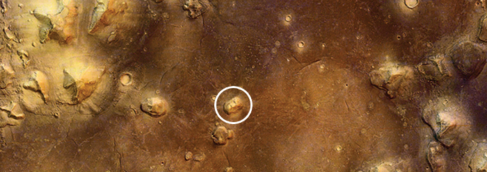 Overhead view of the Cydonia region of Mars, taken by the ESA's Mars Express.